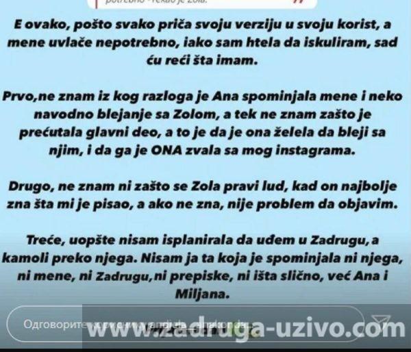 Anđela Milenković, Lazar Čolić Zola